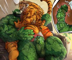 anthro ass athletic balls big_muscles duo felid hairy humanoid hyper internal male male/male mammal manly muscular orc pantherine penetration penis precum sex spanking tail_grab tiger vein veiny_penis zoroj