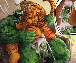 anthro ass athletic balls big_muscles blush cum cum_on_anus cum_on_chest cum_on_penis duo excessive_cum felid hairy humanoid hyper internal male male/male mammal manly muscular orc pantherine penetration penis sex spanking tail_grab tiger vein veiny_penis zoroj