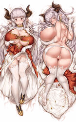 10s alicia_(granblue_fantasy) alicia_florence ass breasts cation curvy dakimakura draph earrings feet female granblue_fantasy horns huge_ass huge_breasts jewelry legs long_hair multiple_views pointy_ears pussy red_eyes silver_hair thick_thighs thighhighs thighs uncensored white_legwear
