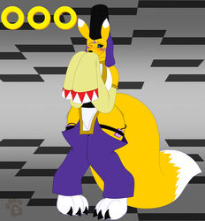 <3_eyes 2019 3_toes anal anthro armwear belt big_breasts big_feet big_tail black_sclera blue_eyes blush breasts canid canine claws clothed clothing covering_mouth covering_own_mouth detached_sleeves digimon digimon_(species) digital_media_(artwork) dipstick_tail female fixed_toy fixed_vibrator fox fur gui hat heart hi_res huge_breasts knock-kneed ky_(malamute) long_sleeves mammal masturbation multicolored_fur multicolored_tail one_eye_closed pants partially_clothed pussy_juice sex_toy sex_toy_under_clothing shaking solo standing taomon toes two_tone_fur vaginal_penetration vibrator wet_spot white_fur wide_hips yellow_fur