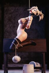 3d blonde_hair bondage breasts female gag gagged gaperr mercy overwatch ride solo solo_female stockings tiedup
