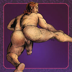 anal_hair anus arm_hair ass balls big_ass big_penis bigby_wolf body_hair brown_hair fables facial_hair flaccid foreskin hairy hairy_ass hairy_legs leg_up light_skin looking_at_viewer looking_back male_only muscular naughty_face orange_eyes penis perineum presenting_anus presenting_hindquarters pubic_hair purple_background smirk soles solo stubble suggestive the_wolf_among_us thick_thighs tulmap werewolf