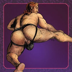 anal_hair anus arm_hair ass big_ass bigby_wolf body_hair brown_hair bulge fables facial_hair hairy hairy_ass hairy_legs jockstrap leg_up light_skin looking_at_viewer looking_back male male_only muscular naughty_face orange_eyes perineum presenting_anus presenting_hindquarters pubic_hair purple_background revealing_clothes smirk soles solo stubble suggestive the_wolf_among_us thick_thighs tulmap underwear werewolf