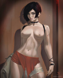ada_wong areolae black_hair blood breasts capcom clothing hair nipples resident_evil resident_evil_2 shadow taiss14 topless video_games