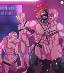 4boys abs absurdres arbitro ass bar bara blonde_hair blue_eyes bondage bondage bound collar crossover dead_rising dead_rising_3 dylan_fuentes erection galerians galerians:_ash gloves green_eyes handjob harness hat highres indoors large_penis leather male_focus mask multiple_boys muscle nipples nude open_mouth pants parano_(galerians) pecs penis sex sharp_teeth short_hair smile teeth tengen_toppa_gurren_lagann testicles thefreaknextdoor thighhighs togainu_no_chi tongue uncensored viral wince yaoi yellow_eyes