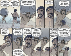 ancient_greece beard black_hair blonde_hair comic dialogue english_text fellatio funny gay humor male_only muscular oglaf outdoors penis speech_bubble unimpressed