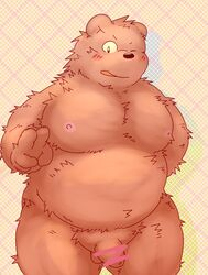 2015 anthro balls belly blush flaccid hi_res humanoid_hands humanoid_penis male mammal moobs nipples one_eye_closed overweight overweight_male penis shimm solo ursid wink