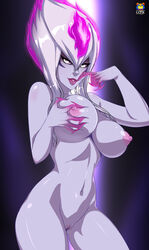 absurdres breasts claws contrapposto evelynn facial_mark female fiery_hair finger_to_mouth grabbing grabbing_own_breast grey_skin highres kyoffie12 large_breasts league_of_legends lips lipstick makeup multicolored_hair navel nude pussy sidelocks slit_pupils solo white_hair