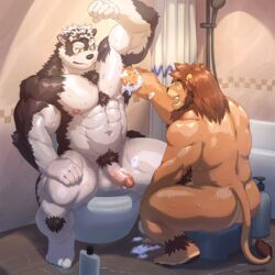 2018 abs anthro armpit_hair balls bathroom biceps canid canine canis duo felid fur hi_res horkeukamui humanoid_penis inside lion male mammal mixvariety multicolored_fur muscular muscular_male navel nipples nude pantherine pecs penis pubes ross_(rossciaco) sitting tokyo_afterschool_summoners tuft two_tone_fur video_games wolf yellow_eyes
