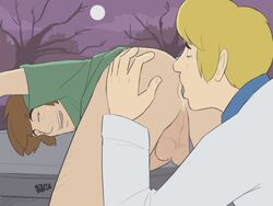 2boys 5_fingers anal anilingus anus ass ass_grab balls bent_over blonde_hair bottomless brown_hair butt_grab color digital_media_(artwork) duo fred_jones gay human idrewthis looking_pleasured lowres male_focus male_only moon night not_furry open_mouth pluvatti rimjob rimming saliva scooby-doo shaggy tagme testicles tongue tongue_out uncensored yaoi