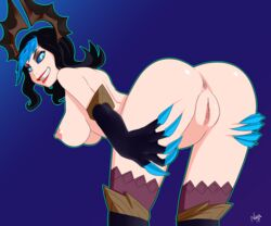 anus ass bent_over black_hair blue_eyes blue_sclera breasts claws dated evelynn female gloves grabbing_own_thigh hair_ornament highres large_breasts league_of_legends leaning_forward lips lipstick looking_at_viewer looking_back makeup multicolored_hair nipples nude pussy scorchingnova signature smile solo streaked_hair teeth wavy_hair