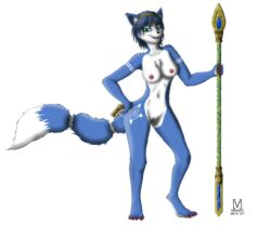 2019 [in]vader anthro blue_fur blue_hair breasts canid canine chest_tuft clitoris digitigrade fluffy fluffy_tail food fox fur fur_markings green_eyes hair hairband half-closed_eyes hand_on_hip hi_res jewelry krystal krystal's_staff looking_at_viewer mammal markings nintendo nipples nude pussy sandwich_(food) solo staff star_fox tailband tribal_markings tuft video_games white_fur