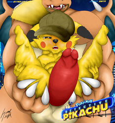 2019 2boys absurd_res big_penis charizard detective_pikachu digital_media_(artwork) dragon duo english_text erection fur furry gay greey half-closed_eyes hat hi_res huge_penis huge_testicles humanoid_penis interspecies larger_male male male_only nintendo penis pikachu pokémon_(species) pokemon scalie signature size_difference smaller_male smile testicles text thick_thighs video_games watermark wide_hips yaoi yellow_body yellow_fur