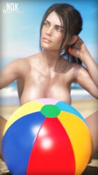 arms beach beachball body breasts brown_hair character chest cleavage daz3d earrings female genesis8 green_eyes hot iray lifeguard nude pinup ponytail sand sexy skin sky summer sunlight sweaty tanlines tanned tanning wet