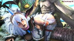 1monster 3d amphibian animated beastlyjoe blue_hair breeding capcom clothing cyan_hair frog from_behind horn huge_monster humanoid interspecies kirin_(armor) long_tongue looking_back monster monster_hunter monster_hunter_world no_sound pounding pukei-pukei silver_hair size_difference streaked_hair tagme unicorn_horn webm white_hair