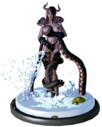 3d armor blue_eyes blue_panties breasts dark_hair dark_skin death_knight draenei eshalw female female_only figure honey_select horn horns huge_breasts milk nipples octopus original_character pinup pubic_hair solo sticker studio_neo tail tan tanline tentacle turtle water world_of_warcraft