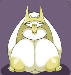 1girl antennae anthro areolae breasts closed_eyes eyelashes female female_only huge_breasts hyper hyper_breasts hyper_nipples insect nintendo nipples open_mouth petronoise pheromosa pokemon pokemon_usm purple_background solo source_request tongue tongue_out white_skin yellow_nipples yellow_skin