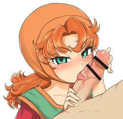 1boy 1girl blush censor_bar censored clothing dragon_quest dragon_quest_vii fellatio female green_eyes groping huge_cock invisiblewanwano long_hair male maribel open_mouth oral orange_hair penis penis_grab precum tongue tongue_out veins veiny_penis