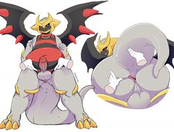 ambiguous_gender anthro anthrofied anus ass chubby claws digital_media_(artwork) disembodied_hand duo erection foreskin gabriel_(lucky_absol) giratina giratina_(altered_form) horn humanoid_penis jewelry legendary_pokémon looking_at_viewer male male/ambiguous male_focus mammal necklace nikkibunn nintendo nude open_mouth penis pokémon_(species) pokémorph pokemon red_eyes simple_background slightly_chubby solo_focus standing testicles thick_thighs uncut video_games white_background wings