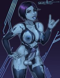 1futa absurdres areolae balls big_breasts big_penis breasts cortana dickgirl erection futa_only futanari halo_(series) hand_on_hip highres large_breasts looking_at_viewer nipple_piercing nipples nude open_mouth penis piercing shadowboxer solo standing testicles tongue tongue_out veiny_penis