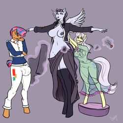 2019 absurd_res braided_hair breasts bulge chango-tan clothing equid equine eyewear female friendship_is_magic hair hi_res horn horse inky_rose_(mlp) lily_lace_(mlp) male mammal my_little_pony nipples penis pony pterippus pussy scissors starstreak_(mlp) sunglasses translucent transparent_clothing twintails unicorn
