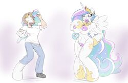 2017 absurd_res alicorn animate_inanimate anthro big_breasts breasts clothing digital_drawing_(artwork) digital_media_(artwork) embarrassed equid female footwear friendship_is_magic hair helixjack hi_res horn jewelry long_hair mammal mostly_nude my_little_pony necklace nipples open_mouth pants princess_celestia_(mlp) pussy pussy_juice sex_doll sex_toy_transformation shirt shocked shoes simple_background solo standing transformation white_background wings