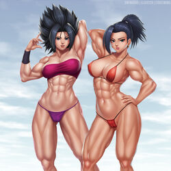 2girls abs biceps big_breasts black_hair breasts caulifla cleavage dragon_ball dragon_ball_super earrings elee0228 female female_only hair hips kale lips lipstick looking_at_viewer muscles muscular muscular_female muscular_thighs onewasho pink_lips pink_lipstick ponytail red_bikini shiny shiny_skin spiked_hair thick_thighs triceps veins