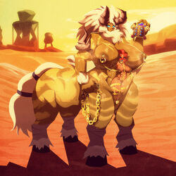 2girls abs blue_eyes blush breasts chains day desert gerudo gigantic_breasts hooves horns large_breasts lynel monster_girl multiple_girls muscle muscular_female nintendo nipple_piercing nude piercing pussy pussy_juice red_hair riendonut riju scar shadow tail the_legend_of_zelda the_legend_of_zelda:_breath_of_the_wild