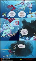 2018 ambiguous_gender animal_humanoid breasts comic english_text facial_markings female feral forehead_markings goldeen hair hi_res horn humanoid ink markings matemi motion_lines nintendo nipples nude original_character pokémon_(species) pokemon red_eyes silver_soul small_breasts swimming text tympole url video_games water watermark white_hair wings