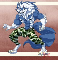 2019 4_toes 5_fingers abs anthro biceps black_nose blue_fur blue_hair blue_skin bulge canid canine canis capcom claws clothed clothing darkstalkers digitigrade eyebrows fur gloves_(marking) hair hungothenomster jon_talbain looking_aside male mammal mane markings multicolored_fur multicolored_hair multicolored_skin muscular muscular_male muscular_thighs neck_tuft nipples pants pecs sharp_teeth simple_background socks_(marking) solo standing teeth tight_clothing toes topless tuft two_tone_fur two_tone_hair two_tone_skin video_games were werecanid werecanine werewolf white_fur white_hair white_skin wolf
