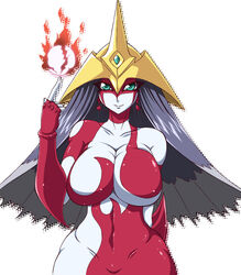 big_breasts bodysuit duel_monster elemental_hero_burstinatrix female fire gradient_hair green_eyes huge_breasts konami long_hair looking_at_viewer posing smile solo solo_female tagme thick voluptuous white_skin yu-gi-oh! yu-gi-oh!_gx