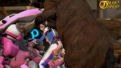 1animal 1girl 3d animated brown_eyes brown_hair cum_in_pussy cum_inside d.va doggy_style female female_on_feral horse horsecock juliojakers larger_feral overwatch size_difference vaginal_penetration webm zoophilia