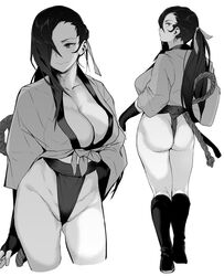 black_gloves boots breasts clavicle cleavage closed_mouth cowboy_shot female female fingerless_gloves fire_emblem fire_emblem_if from_behind gloves greyscale hair_ornament hair_over_one_eye high_resolution kagero_(fire_emblem) kagerou_(fire_emblem_if) large_breasts long_hair looking_back looking_to_the_side messatsu_tan monochrome multiple_views ninja ponytail simple_background solo standing thighs tied_hair white_background