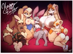 5girls =huge_ass animal_ears anthro ass blue_eyes breasts bunny bunny_ears bunny_girl bunny_tail bunnysuit cream_the_rabbit erect_nipples erect_nipples_under_clothes female female_only furry gigantic_breasts huge_breasts judy_hopps large_filesize lola_bunny looney_tunes lopunny mega_lopunny multiple_girls nipples pantyhose pokemon red_eyes secretlysaucy skin_tight sonic_(series) space_jam tail thick_thighs thighs topless torn_clothes torn_pantyhose vanilla_the_rabbit zootopia