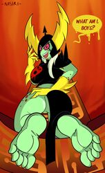 5_toes alien ass barefoot breasts clothed clothing dialogue english_text feet female foot_focus freckles green_skin humanoid lord_dominator nasiri_(artist) soles solo text toes wander_over_yonder