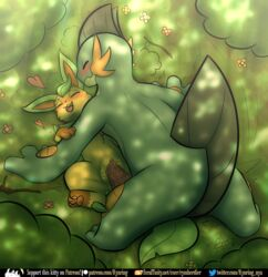 1boy 1girls 2019 3_toes amphibian blush duo eeveelution female feral flower forest fur furry heart interspecies larger_male leafeon lying male male/female mammal missionary_position nintendo on_back open_mouth original_character outside penetration penis plant pokémon_(species) pokemon pokemon_rgby pokemon_rse pussy pussy_juice rymherdier sex size_difference smaller_female smile sunbeam swampert text toes tree url vaginal_penetration video_games watermark