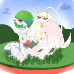 2_fingers 2girls 3_fingers alien antennae areolae ass blue_background blush boxf breast_grab breasts clouds day duo eye_contact feet female female_only gardevoir grass green_hair green_skin hair_over_one_eye holding holding_breast huge_breasts insect inverted_nipples kneeling large_breasts long_legs looking_at_viewer nintendo nipples open_mouth outdoors pheromosa pokemon pokemon_rse pokemon_usm pokemon_xy purple_eyes red_eyes short_hair sitting sky smile thick_thighs wariza white_skin wide_hips yellow_skin
