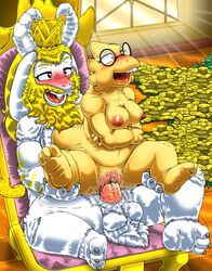 3_toes alphys asgore_dreemurr balls beard blush boss_monster breasts buckteeth claws duo eyewear facial_hair female glasses kitsune_youkai male male/female monster nipples nude penetration penis pink_penis pussy pussy_juice slightly_chubby teeth toe_claws toes undertale vaginal_penetration vaginal_penetration video_games white_balls