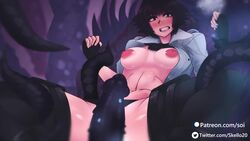 ahe_gao ahegao animated black_hair corruption cum cum_in_pussy cum_inside cum_on_body cum_on_breasts cumshot devil_may_cry gloves goggles heart-shaped_pupils jacket lady_(devil_may_cry) legwear nakadashi patreon penis pussy short_hair skello-on-sale sound tagme tentacle tentacle_rape tentacle_sex twitter_username vaginal_penetration webm