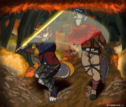 2018 angry anthro armor blood canid canine canis clothed clothing coyote death detailed digital_media_(artwork) duo energy_weapon entrails evangellos_(artist) fantasy fight forest fox fully_clothed gore hair killing knife male mammal melee_weapon outside running short_hair simple_background snarling sword tree violence weapon
