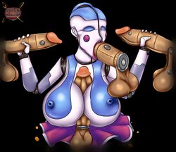 2019 ballora_(fnafsl) breasts fellatio female five_nights_at_freddy's group hair handjob male male/female nipples oral penis sex sister_location solo_focus titjob video_games