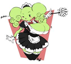 big_breasts blush cute duster gloves green_skin large_breasts looking_back maid_uniform mimi_(super_paper_mario) open_mouth ponytails simple_background thick_thighs wink