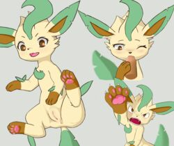 4_toes angry anus blush brown_eyes brown_paws canid canine claws cum cum_in_mouth cum_inside cute_fangs dipstick_ears duo eeveelution eyelashes fellatio female female_focus feral flora_fauna fur green_tail hi_res leaf_tail leafeon looking_at_viewer male male/female mammal markings multiple_poses nintendo one_eye_closed open_mouth oral pawpads plant pokémon_(species) pokemon pose presenting presenting_pussy pussy sex snout socks_(marking) solo solo_focus spread_legs spreading toes tongue video_games yellow_fur 天诛剑舞
