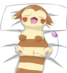 1girls 2016 3_toes anus bed bedding blush brown_fur closed_eyes ears_down feet female feral fur furret furry hi_res markings masturbation motion_lines nintendo open_mouth paws pokémon_(species) pokemon pokemon_gsc pussy sex_toy socks_(marking) solo striped_fur stripes sweat tan_fur tears toes tongue toying_self vibrator video_games さし