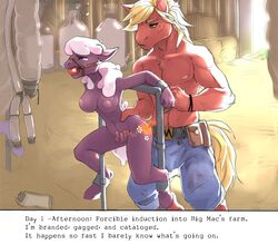 2019 absurd_res anthro anthrofied ball_gag barn big_macintosh_(mlp) bondage bondage bound branding branding_iron breasts cheerilee_(mlp) clothed clothing duo english_text equid equine female friendship_is_magic gag hi_res horse male male/female mammal milk my_little_pony nude partially_clothed pony text torture unknown_artist whitekitten