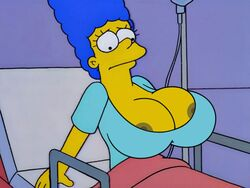 big_breasts blue_hair breast_expansion breasts cleavage edit exposed_nipples hospital_gown huge_breasts large_breasts marge_simpson milf the_simpsons