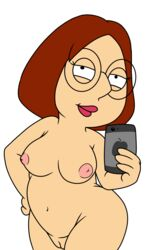 belly breasts breasts brown_hair family_guy glasses iphone meg_griffin phone pussy standing takeshi1000