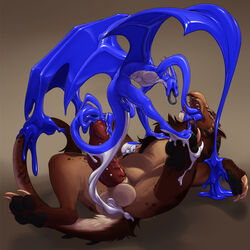 anal anal_sex anal_vore anthro avian balls beak big_penis claws digital_media_(artwork) dragon duo erection feathered_wings feathers feral firondraak frenum_piercing genital_piercing goo_creature gryphon horn inflation ire_(blackmist333) male male/male male_pred male_prey membranous_wings neltruin nude open_mouth penetration penis penis_piercing piercing size_difference tongue uncut vore wings