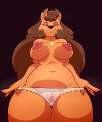 2019 areola breasts brown_eyes canid canine clothing ear_piercing fangs female half-closed_eyes jewelry lonbluewolf looking_at_viewer looking_down mammal necklace nipples piercing pussy pussy_juice sheer_clothing solo teeth translucent translucent_panties transparent_clothing
