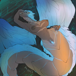 2019 absurd_res areola breasts brolaren_(artist) daydell_icefeather feathered_wings feathers female hair hi_res lying naga nipples nude on_back pussy pussy_juice pussy_juice_string reptile scalie snake solo wings